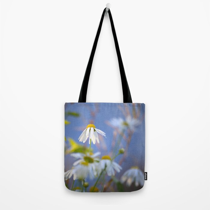 Daisies on a sunny summer day with blue sky Tote Bag