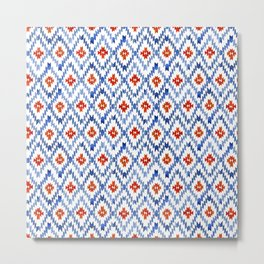 blue rhombus balinese ikat mini Metal Print