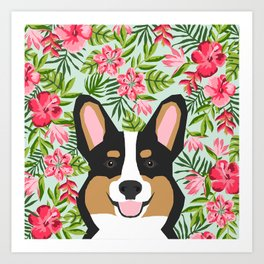 Tricolored Corgi Hawaiian Floral Print Art Print