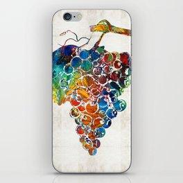 Colorful Grapes Fruit Art by Sharon Cummings iPhone Skin