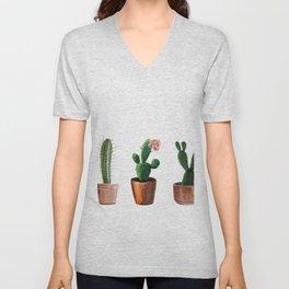 Three Cacti On White Background Unisex V-Neck