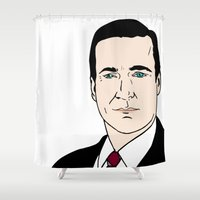 mad men Shower Curtains featuring Don Draper - Mad Men by Aishling K