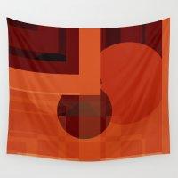 orange pattern Wall Tapestries featuring Pattern orange Retro Style by Christine baessler