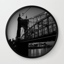 Roebling Bridge B & W Wall Clock