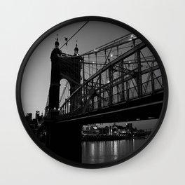 Roebling Bridge B & W Wall Clock