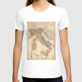 Vintage Italy Geology Map (1844) T-shirt
