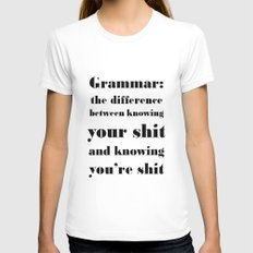 Grammar: The Difference Between Your and You're X-LARGE Womens Fitted Tee White