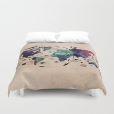 Oceans Life World Map  Duvet Cover