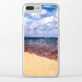 Beach Under Blue Skies Clear iPhone Case