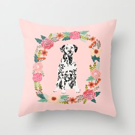 dalmatian dog floral wreath dog gifts pet portraits Throw Pillow