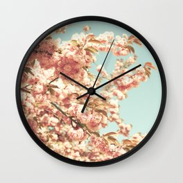 Dusty pink cherry blossoms Wall Clock