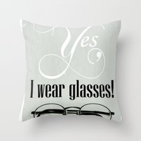 glasses Throw Pillows featuring Glasses by Julia Dávila-Lampe