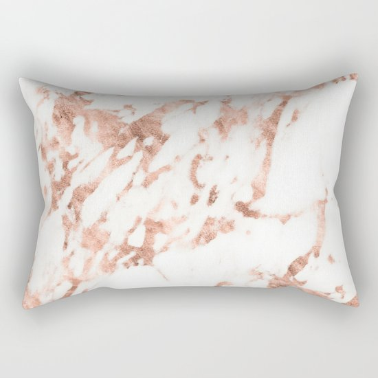 Rose Gold Marble - Perfect Pink Rose Gold Marble Rectangular Pillow