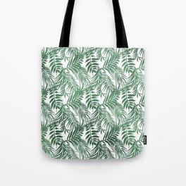 Modern forest green white palm tree greenery Tote Bag