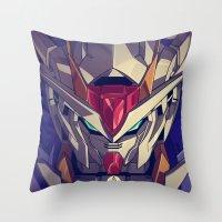 gundam Throw Pillows featuring Gundam Fan ART by Krayvn Arts