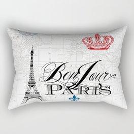 BonJour Paris Red White Blue Rectangular Pillow