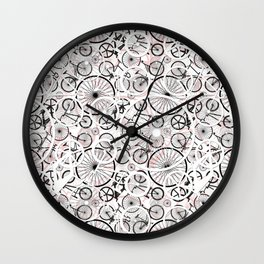 Bicycle Pattern Fun Wall Clock