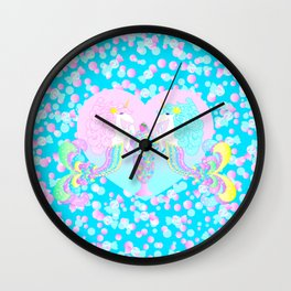 Mermicorn Twins Candy and Bubbles Wall Clock