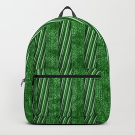 Velvety Green Candy Cane Christmas Stripe Backpack
