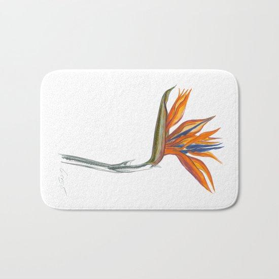Bird of Paradise 01 Botanical Flower Bath Mat