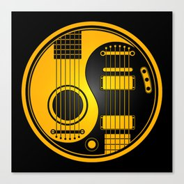 Yellow and Black Acoustic Electric Yin Yang Guitars Canvas Print