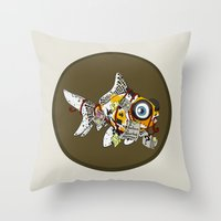 wes anderson Throw Pillows featuring Goldfish Anderson by WhoGroovesOn