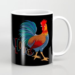 DeColores Cursillo Rooster On Black Coffee Mug