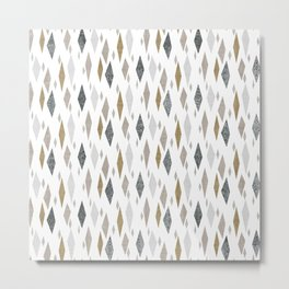 Danish Diamond Mid-Century Geometric Print Tan Metal Print