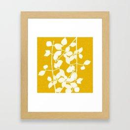white branch on golden tone Framed Art Print