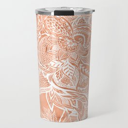 Modern tan copper terracotta watercolor floral white boho hand drawn pattern Travel Mug
