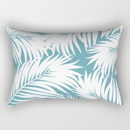 Palm Tree Fronds White on Soft Blue Hawaii Tropical Décor Rectangular Pillow