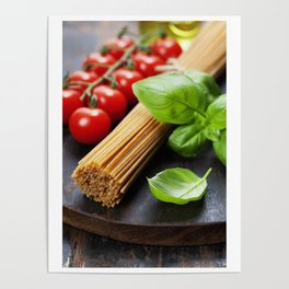 Spaghetti and tomatoes with herbs on an old and vintage wooden table Poster