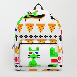 """""""Psychedelic Skateboarding Ugly Christmast Sweater Pixel Pizza Cat"""", by Brock Springstead Backpack"""