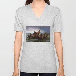 Washington Crossing the Delaware by Emanuel Leutze (1851) Unisex V-Neck