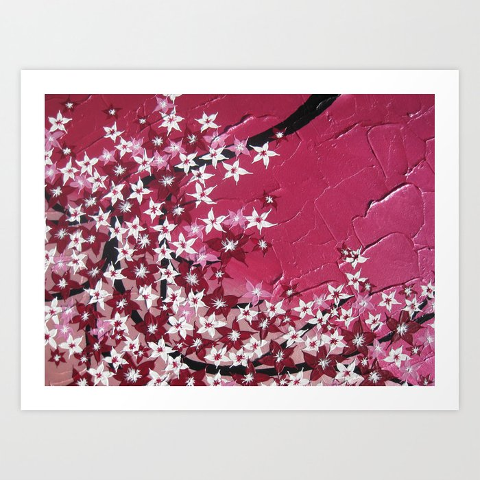 Cherry Blossoms In Light And Dark Pink A Hanging Branch Bedroom Prints For