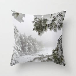 """""""Snowy forest"""". At the foggy mountains... Throw Pillow"""