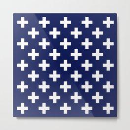 Navy Cross Duvet Metal Print