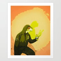 kermit Art Prints featuring kool kermit by Kingu Omega