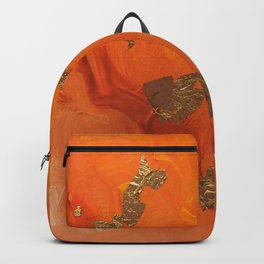 Abstract Painting - Orange and Gold Leaf Backpack