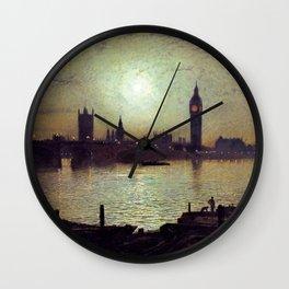 Westminster Bridge by Moonlight by John Atkinson Grimshaw Wall Clock