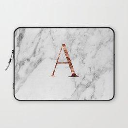 Monogram rose gold marble A Laptop Sleeve