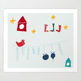 Holiday bird gray Art Print
