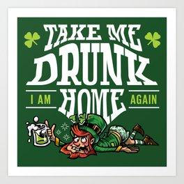 St. Patrick's Day - Drunk Leprechaun Art Print