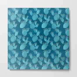 Blue cactus on deep blue Metal Print
