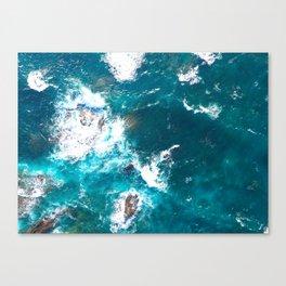 Aerial Turquoise sea, ocean, coast, Atlantic, Portugal, beach, waves, sea, prints, project Canvas Print