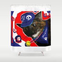 """LOS ANGELES D,MY CHAMPION CAT"",BASEBALL,USA ART SPORTS SERIES. Shower Curtain"