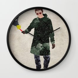 Liam Gallagher watercolour print Wall Clock