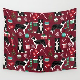 Border Collie christmas stockings presents holiday candy canes dog breed pattern Wall Tapestry
