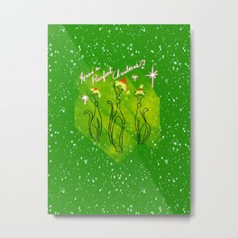 Purrfect Mid Century Christmas - Green White and Red Palette Metal Print