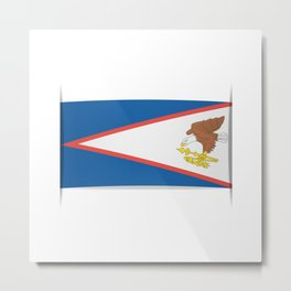 Flag of American Samoa. The slit in the paper with shadows. Metal Print